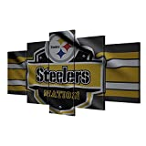 Pittsburgh Steelers Wall Pictures Canvas Art Poster Living Room Decor Sports Football Home Game Room Decoration Home Decor Modern Posters and Prints Framed Gallery-wrapped Ready to Hang (60''Wx32''H)