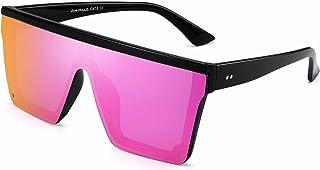 JIM HALO Flat Top Shield Sunglasses Square Mirror Rimless Glasses for Women Men