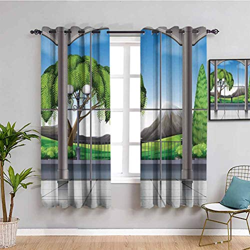 House Decor Room Darkening Curtains for Bedroom Room with Window View of Mountains and Field Landscape Contemporary Architecture Decor Maintain Good Sleep W55 x L63 Inch Grey Green