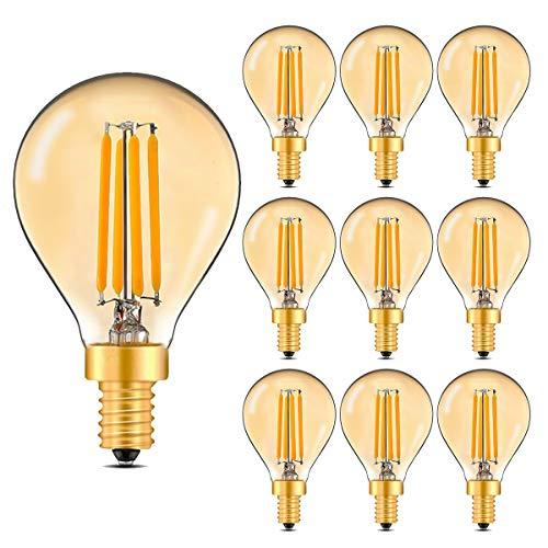 MZYOYO Bombilla LED E14 G45, estilo vintage, luz blanca cálida, bombilla de filamento E14, 4 W (equivalente a 30 W), ámbar, blanco cálido 2700 K, luz cálida, no regulable, 10 unidades