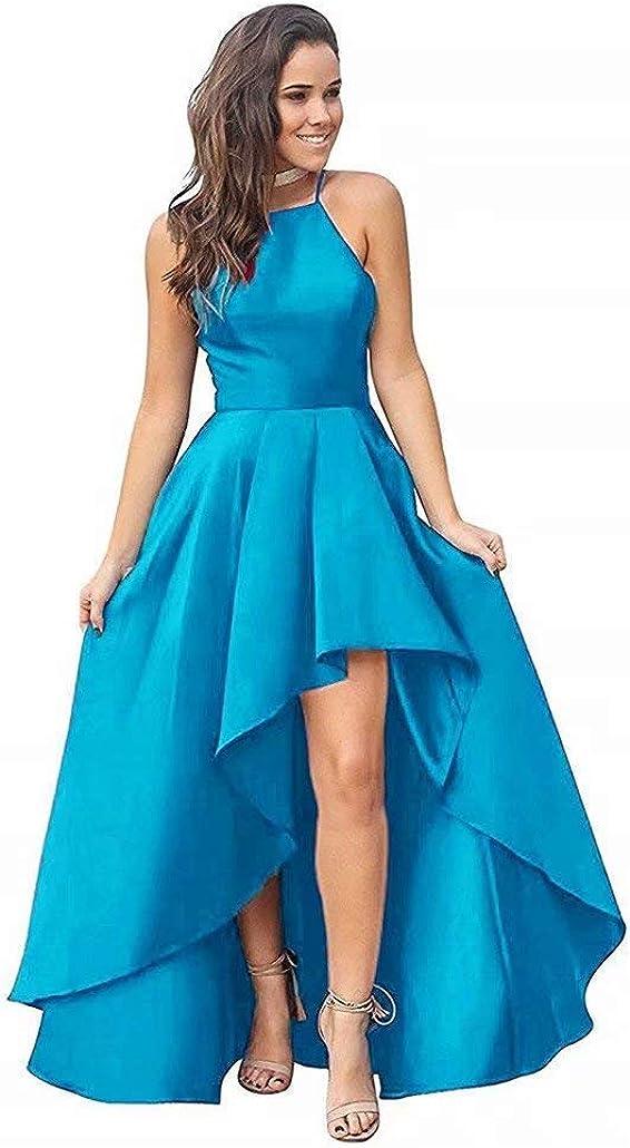 Women's Halter High Low Prom Dresses 2019 Long Satin Formal Evening Dress