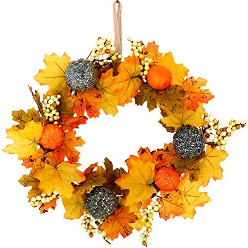 MIFASA Ahorn Blatt Kranz Halloween Herbst Kranz für Front Tür Künstlich Herbst Kranz