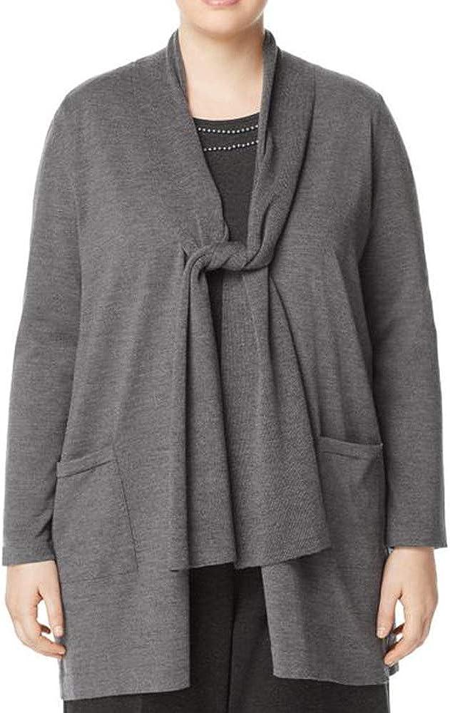 Marina Rinaldi Women's Meglio Tie Front Cardigan, Grey, Medium