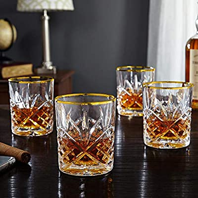 Le'raze Posh Crystal Whiskey Glasses [Set of 4] Old Fashioned Glasses with Gold Band for Scotch, Bourbon And Cocktail Drinks   DOF Glassware Set