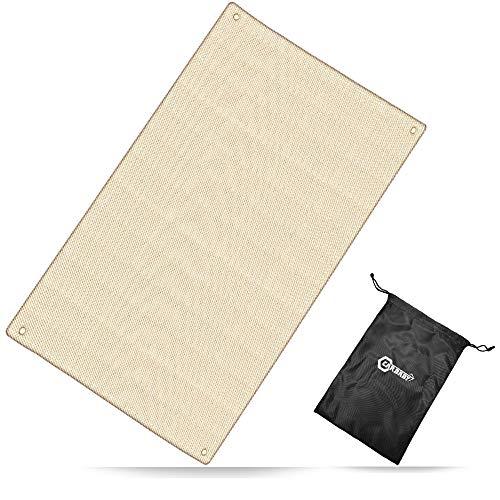 焚き火シート 耐火 耐熱 防炎 溶接 ガラス繊維 薪ストーブ バーベキューコンロ サイズ:98x61cm 収納袋付