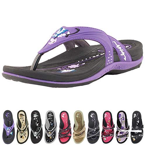 GP Signature Flip Flops for Women: 7532 Black Purple, EU40 (US Size 9-9.5)