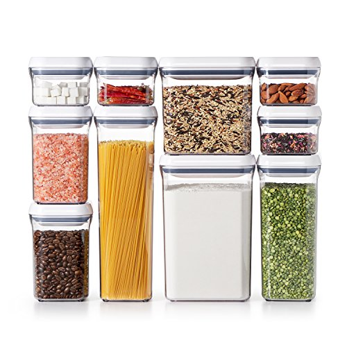 OXO Good Grips 10-Piece Airtight Food Storage POP Container Value Set, Standard Packaging,White,10 Piece