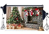 NiuXphoto クリスマスデコレーション ツリー背景 10X8フィート クリスマスギフト 暖炉 ビニール背景 ストッキング レッドボール インテリア 写真背景 お祝い用 2019 写真スタジオ小道具 LL56