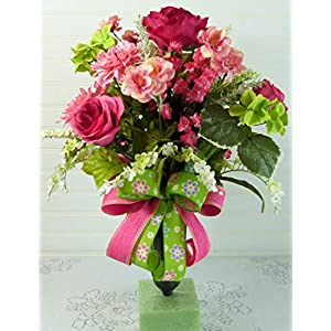 Spring Cemetery Arrangement with Roses, Cemetery Flowers for Mother's Day, Spring Cemetery Vase