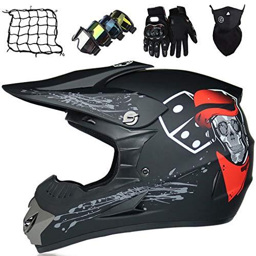 Casco de Motocross Niños, Casco de Moto de Integrales Adultos Off Road Downhill Dirt Bike MX ATV Scooter Set de Casco de Cross Certificado ECE con Gafas/Guantes/Máscara/Red eLástica - Negro Mate