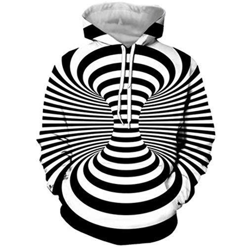 Unisxe impresión 3D Negro Blanco Vértigo hipnótico Camiseta de Manga Larga Sudaderas con Capucha de la ilusión óptica 4 XXL