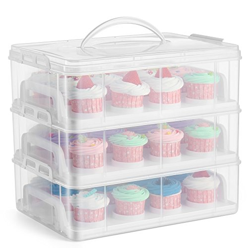 Flexzion Cupcake Carrier Holder Container Box (36 Slot, 3 Tier) - 36 Cupcakes Slot or 3 Large Cakes Pastry Clear Plastic Storage Basket Taker Courier with 3 Tier Stackable Layer Insert (Clear)