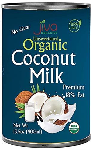 Organic Coconut Milk 13.5 Ounce (Pack of 12) Premium - Unsweetened, FULL 18% Fat, Vegan, Paleo, No Guar Gum, BPA Free, Keto Friendly - by Jiva Organics