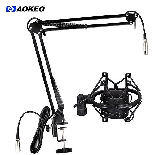 Aokeo AK-35 Microphone Suspension Boom Scissor Arm Stand with Mic Clip Holder, Table Mounting Clamp and Anti Vibrating Shock Mount
