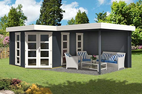 Alpholz 5-Eck Gartenhaus Lindau-40 mit Anbau aus Massiv-Holz | Gerätehaus mit 40 mm Wandstärke | Garten Holzhaus inklusive Montagematerial | Geräteschuppen Größe: 442 x 618 cm | Flachdach