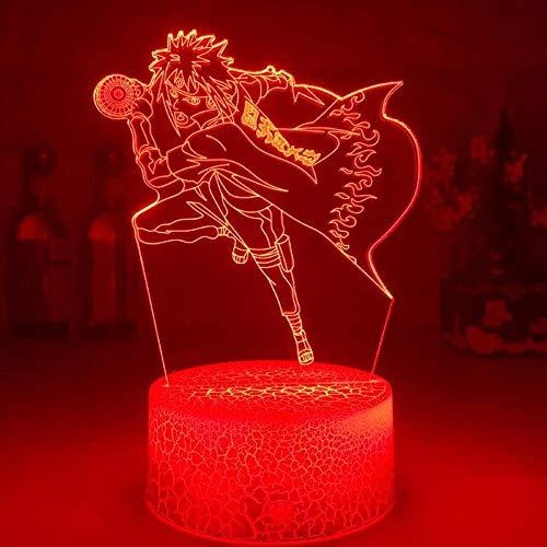 GEZHF Lámpara LED de anime 3D para niños Ilusión Manga japonesa Naruto Lámpara de cuarta generación 3D Figura de Naruto Ambiente para niños 7 colores Luz nocturna Lámpara táctil