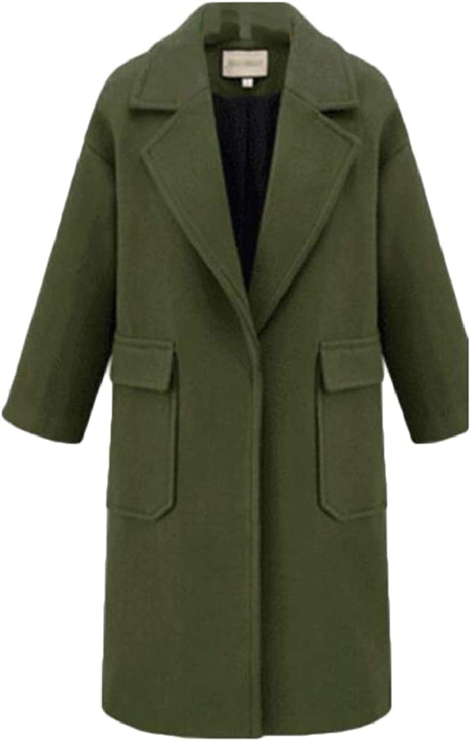 Yaolor Women Thickened Long Sleeve Lapel RelaxedFit Casual Pea Coat