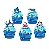 40 piezas de decoración para tartas de temática náutica azul tiburones para Happy Birthday Party Decoration Ocean Wave Cupcake Wrapper Baby Shower Party Supplies