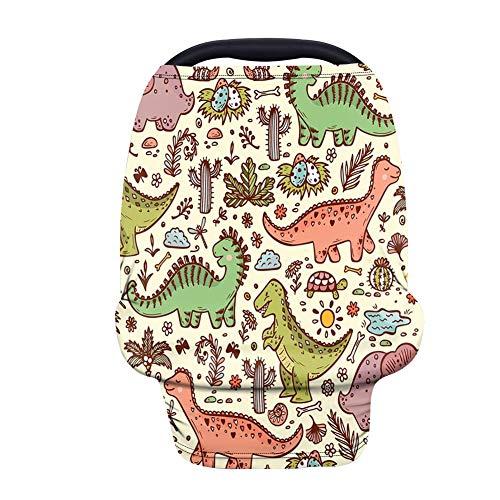 Multiusos Manta de lactancia, Fansu Transpirable y Segura Cubierta para Asiento de Coche, Opaca Manta de Algodón, cubierta para trona, bufanda, cobertor para carriola (Dinosaurio amarillo)