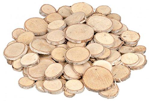 NaDeco Birkenscheiben rund 92 STK. Ø2-6cm runde Birkenscheiben runde Holzscheiben Birkenstamm geschnitten Birkenkolzscheiben Holz Deko