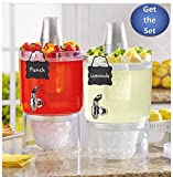2 pk Daily Chef Unbreakable Stackable Beverage Dispenser Server Set 1.75 Gallon each with Faucets & Ice Cones
