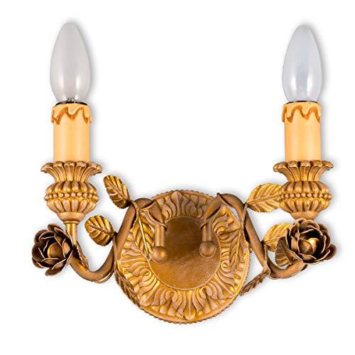 Helios Leuchten 303594 Florentiner Wandleuchte Wandlampe | Blüten chabby chic | Florale Lampe Leuchte Schlafzimmer Wohnzimmer | Kronleuchter Landhausstil zweiflammig