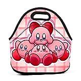 N3xism_Studio Unisex Neoprene Lunch Handbag Waterproof Outdoor Travel Picnic Carry Case Inspired by Kirby Lunchbox with Zipper