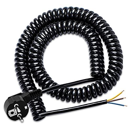 Cables Alargadores de Corriente 3M, Plástico Extensión Cable Espiral, IP20 área Interior con Enchufe Schuko, Cable de Alimentación Schuko 230 V / 16 A, Negro