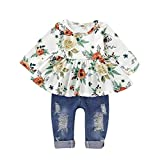 CARETOO Girls Clothes Outfits, Cute Baby Girl Floral Long Sleeve Pant Set Flower Ruffle Top (White, 6-12...