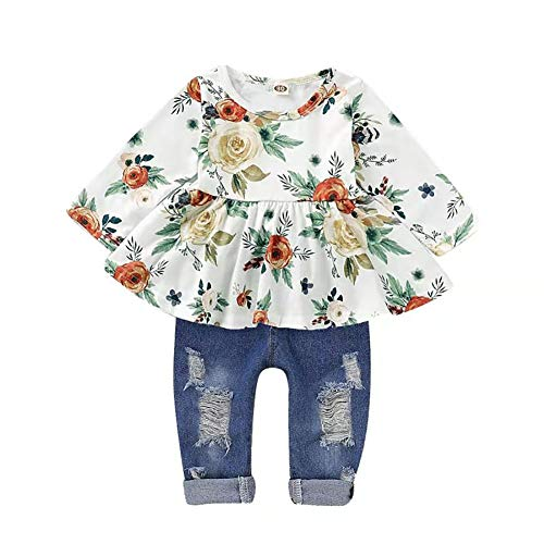 CARETOO Girls Clothes Outfits, Cute Baby Girl Floral Long Sleeve Pant Set Flower Ruffle Top White