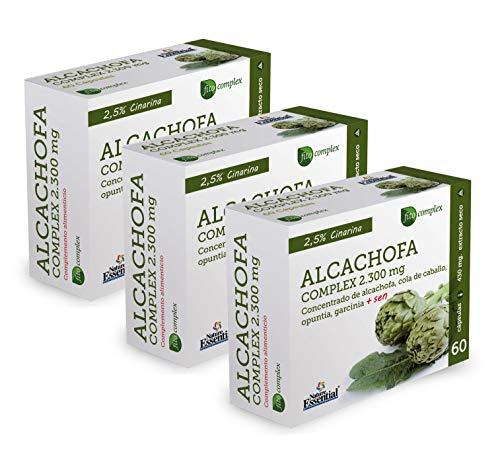 NATURE ESSENTIAL | Alcachofa Complex 2.300 mg | Con Cola de Caballo, Opuntia, Garcinia Cambogia y Sen | Ayuda a Mejorar Molestias Digestivas, Efecto Diurético | 60 Cápsulas (Pack 3 unid)
