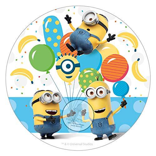 Für den Geburtstag ein Zuckerbild, Oblate mit dem Motiv: Minion, Essbares Foto für Torten, Tortenbild, Tortenaufleger Ø 16cm 00020-E (Oblatenpapier)