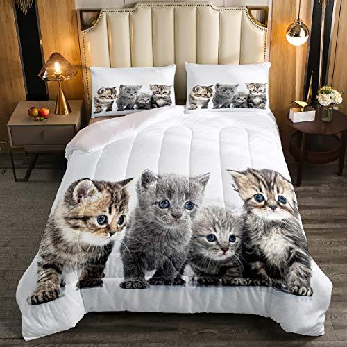 Little Cat Bedding Set Lovely Pet Cats Comforter Cat Lover's Animal Themed Design Comforter Set for Boys Girls Kids Room Decor Cute Kitten Print Duvet Set Full Size with 2 Pillow Case