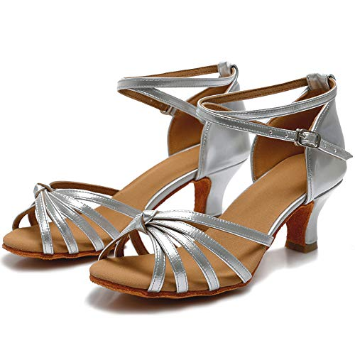 VASHCAME Damen Hoher Absatz Tanzschuhe Standard/Latein Silber Knoten (Absatzhöhe-5CM) 41 EU - 6