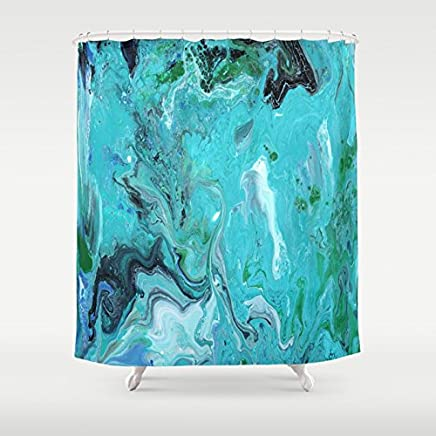 Blue Marble Fabric Shower Curtain