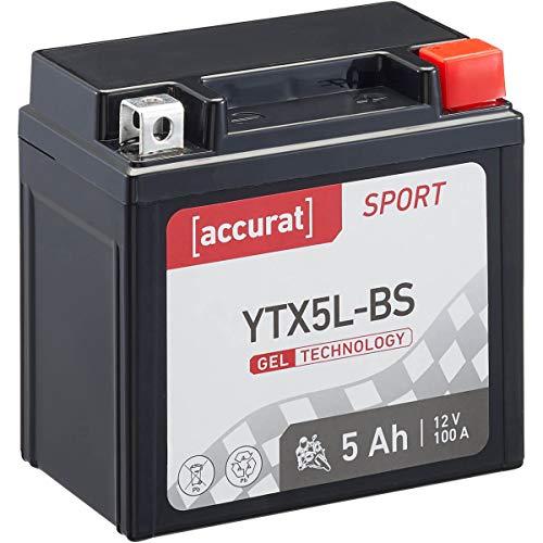 Accurat Motorradbatterie Sport YTX5L-BS 5 Ah 100 A 12V Gel Technologie Starterbatterie in Erstausrüsterqualität zyklenfest sicher lagerfähig wartungsfrei