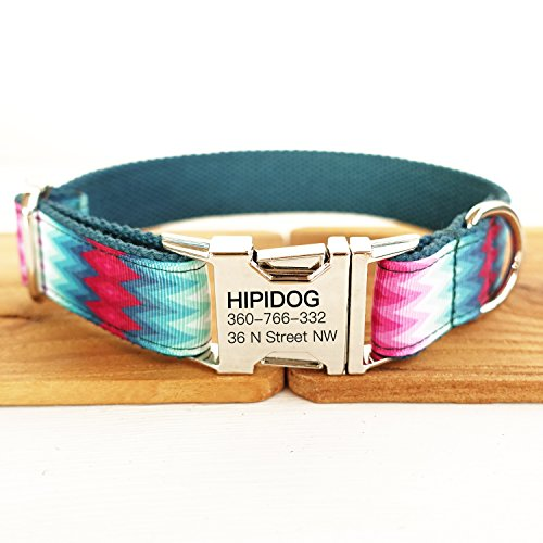 hipidog Personalized Dog Collar, Custom Engraving with Pet Name and Phone Number, Adjustable Tough Nylon ID Collar, Matching Leash Available Separately (Peafowl)