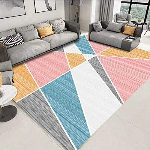 Alfombra Moderna de Pelo Corto, para salón Dormitorio baño sofá Silla cojín Luz Negro Blanco Rosa Azul Claro Naranja Amarillo geometría 200X300CM(6.6ft x 9.8ft)