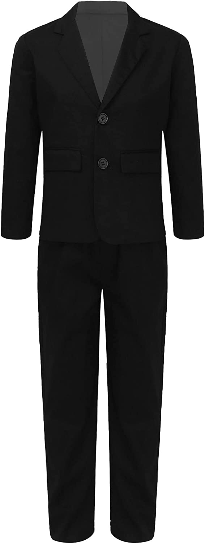 YiZYiF Boys' 2-Piece Formal Dallas Mall Suit Tuxedo Inexpensive Bla Dresswear Set