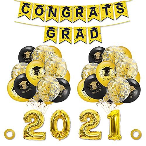 Bomoya 2021 Graduación Fiesta Set Decoración Fiesta Suministro Felicidades Graduados Banner Globos Set Dorado Confeti Globo Accesorios Para Universidad