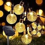 Guirnaldas Luces Exterior Solar, 11M 60 LEDs Cadena Solar de Luces, 8 Modos Impermeable Interior Guirnalda Solar LED Bola de Cristal Luces Decoracion para Hogar Jardín Patio Fiesta Blanco Cálido