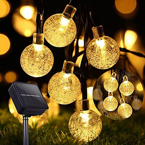 60 LED Solar Fairy Lights Outdoor 36ft 8 Modes Waterproof Solar Fairy Lights Crystal Balls Outside / Indoor Lights Lighting for Garden Trees Patio Christmas Weddings Parties Warm White