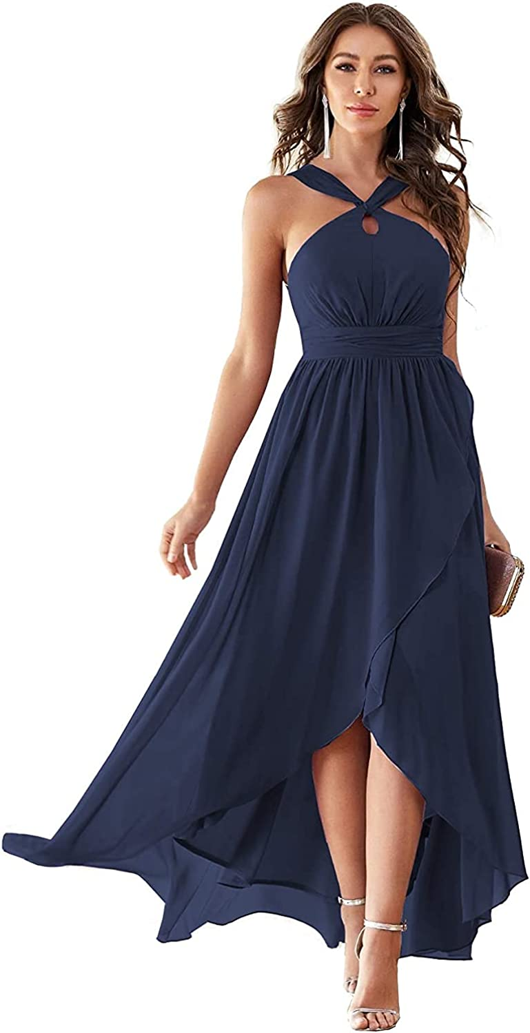 Halter Bohemian Bridesmaid Dresses Ruffle Pleated High Low Formal Dresses with Pockets for Women