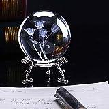 HDCRYSTALGIFTS Pisapapeles con diseño de rosas talladas en 3D, bola de cristal, con soporte de flores chapado en plata, 60 mm