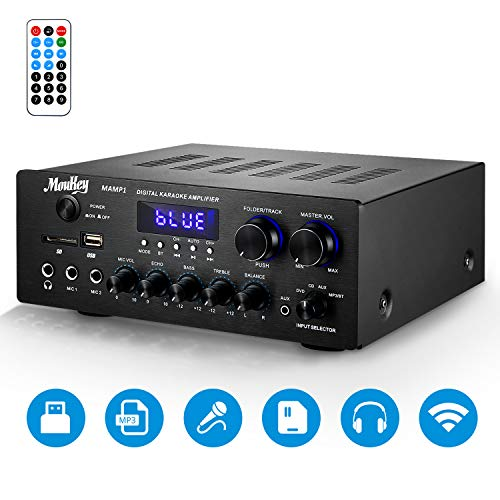 Moukey Wireless Connection Power Amplifier System - 220W Dual Channel Sound Audio Stereo Receiver w/USB, SD, AUX, MIC in w/Echo, Radio, LED - For Home Theater Entertainment via RCA, Studio Use - MAMP1
