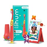 Hum by Colgate Smart Manual Kids Toothbrush Set for Ages 5+, Gaming Experience for Teeth Brushing, Extra Soft, Coral