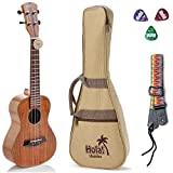 Tenor Ukulele Deluxe Series by Hola! Music (Model HM-127KA+), Bundle Includes: 27 Inch Koa Ukulele with Aquila Nylgut Strings Installed, Padded Gig Bag, Strap and Picks - Limited Edition