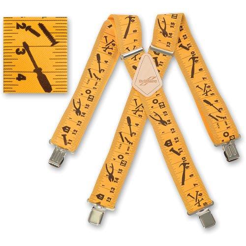 Tirantes para trabajo para hombres, diseño de cinta métrica color amarillo