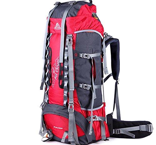 Outdoor randonnée extérieure étanche du sac à dos et résistant à l'usure grande capacité sac à dos 65 + 10 L , red