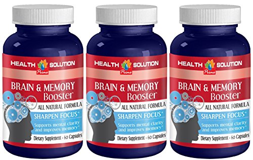 Glutamine Supplement - Brain and Memory Booster - Improve Memory, Concentration, Focus, and Attention (3 Bottles)